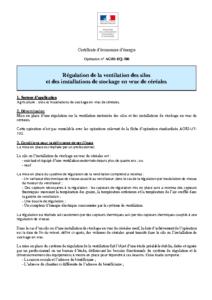 AGRI-EQ-106  Régulation de la ventilation des silos et des installations de stockage en vrac de céréales