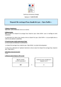 AGRI-TH-101  Dispositif de stockage d'eau chaude de type « Open Buffer »