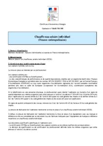 BAR-TH-101  Chauffe-eau solaire individuel (France métropolitaine)