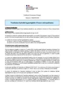 BAR-TH-155  Ventilation hybride hygroréglable (France métropolitaine)