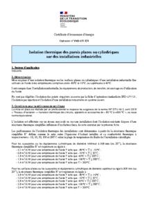 IND-UT-131  Isolation thermique des parois planes ou cylindriques sur des installations industrielles