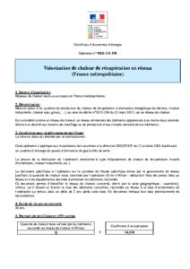 RES-CH-101  Valorisation de chaleur de récupération en réseau (France métropolitaine)