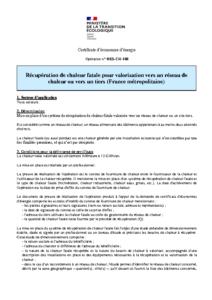 RES-CH-108  Récupération de chaleur fatale pour valorisation vers un réseau de chaleur ou vers un tiers (France métropolitaine)