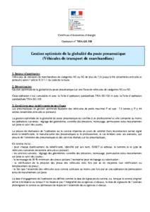 TRA-SE-110  Gestion optimisée de la globalité du poste pneumatique (Véhicules de transport de marchandises)