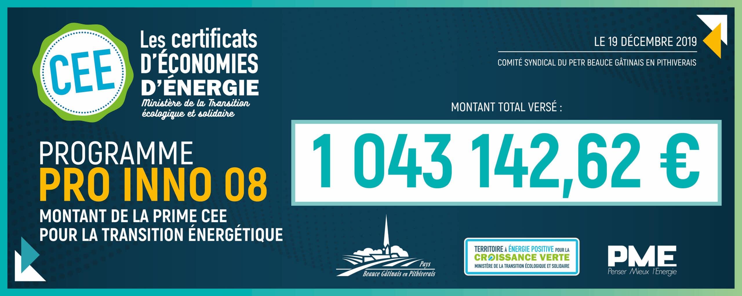 chèque du programme pro inno 08 : le montant total versé atteint 1043142 euros
